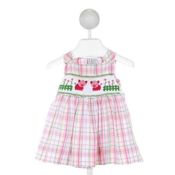 THE PLANTATION SHOP  PINK  PLAID SMOCKED DRESS WITH RIC RAC