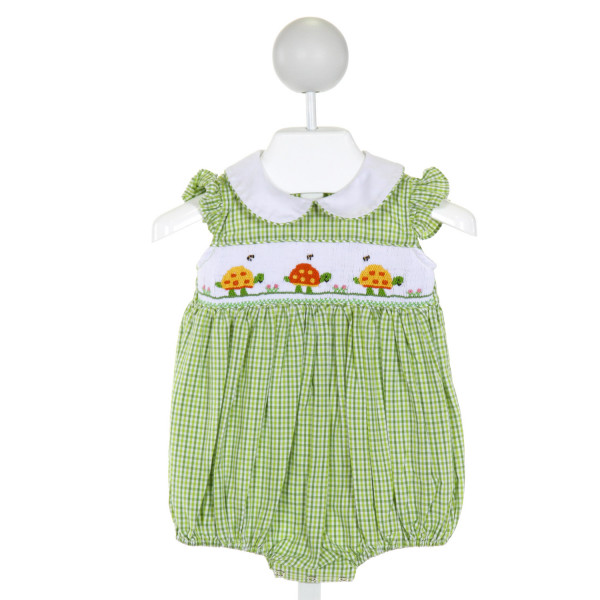 BE MINE  GREEN  PLAID SMOCKED BUBBLE WITH RUFFLE