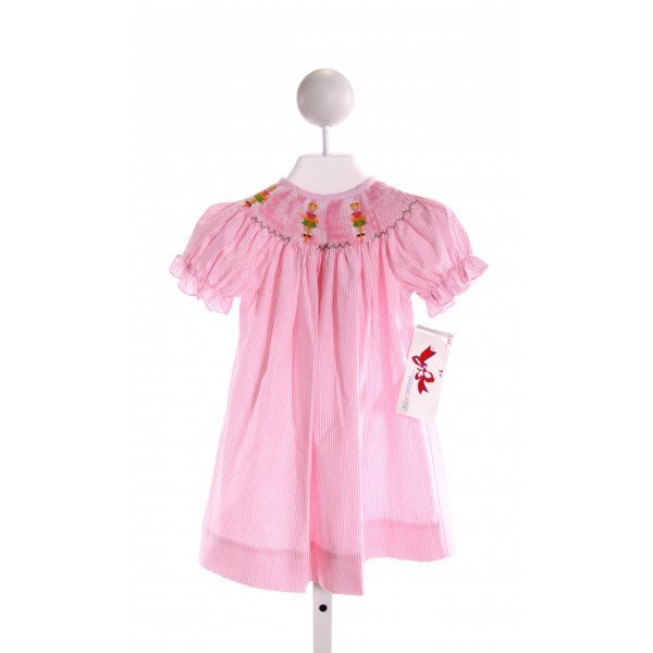 SILLY GOOSE  LT PINK  STRIPED SMOCKED DRESS WITH RUFFLE