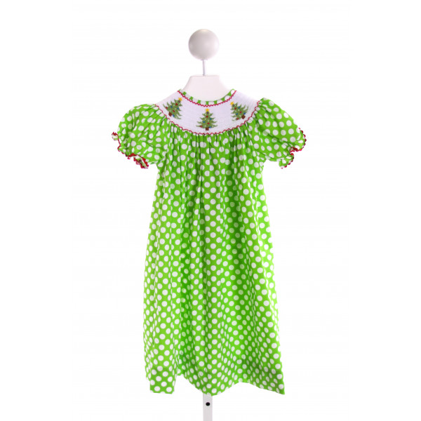 LOLLY WOLLY DOODLE  LT GREEN  POLKA DOT SMOCKED DRESS WITH RIC RAC