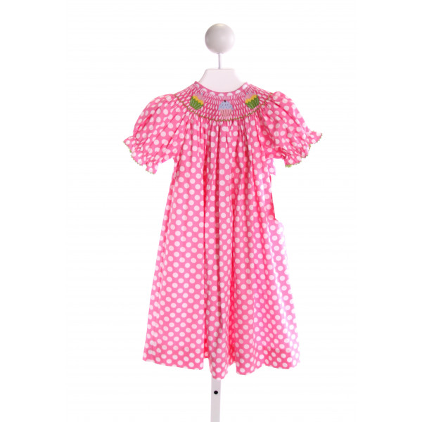 VIVE LA FETE  PINK  POLKA DOT SMOCKED DRESS WITH RIC RAC