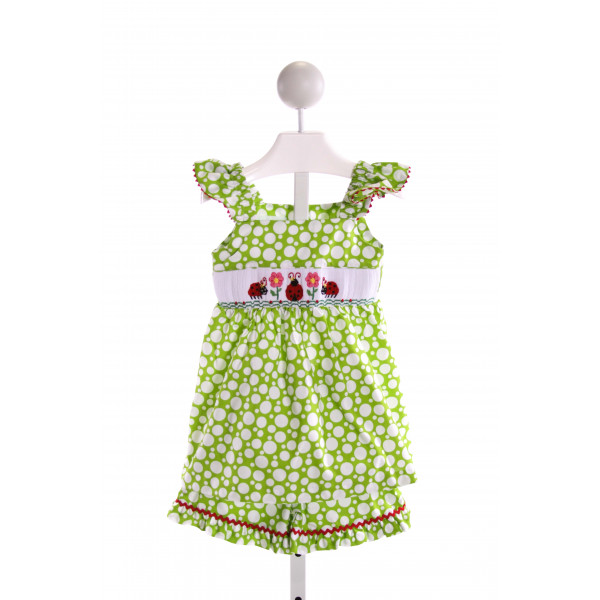BE MINE  LT GREEN  POLKA DOT SMOCKED 2-PIECE OUTFIT WITH RUFFLE