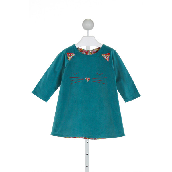 PETIT PEONY  BLUE CORDUROY  EMBROIDERED DRESS