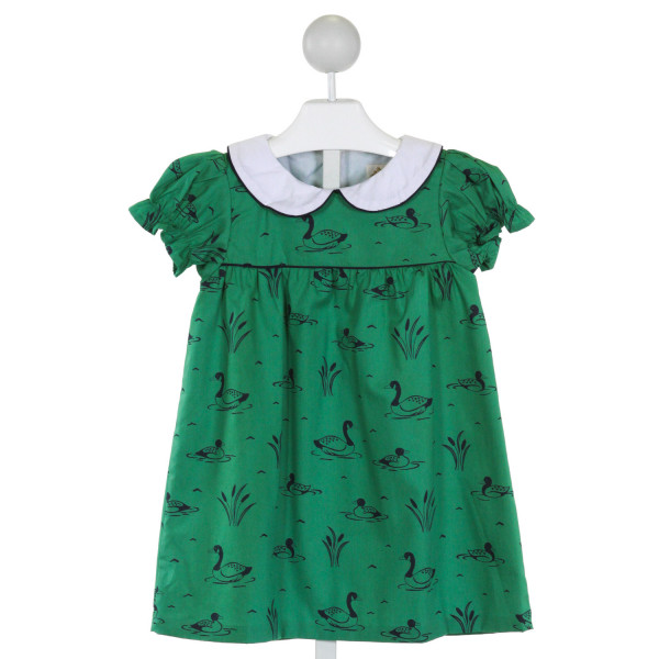 THE BEAUFORT BONNET COMPANY  GREEN   PRINTED DESIGN DRESS WITH RUFFLE