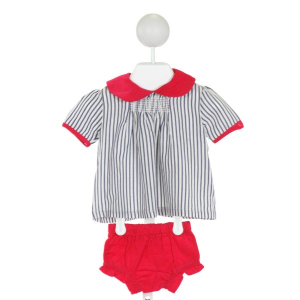 PETIT PEONY  BLUE  STRIPED SMOCKED 2-PIECE OUTFIT WITH RUFFLE