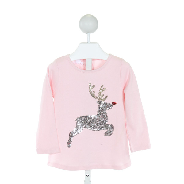 MUD PIE  LT PINK   SEQUINED KNIT LS SHIRT