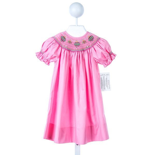 ROSALINA PINK SMOCKED ORNAMENTS DRESS