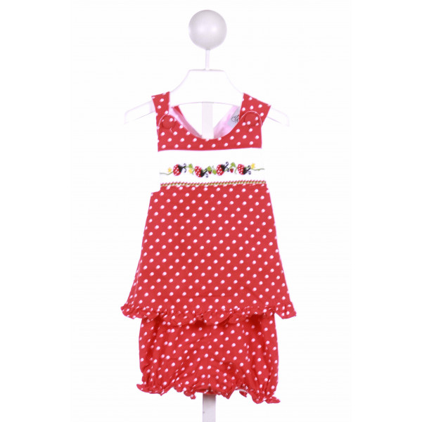 DELANEY  RED  POLKA DOT SMOCKED 2-PIECE OUTFIT