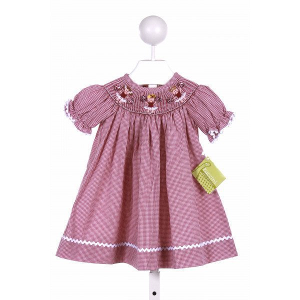 ZUCCINI  RED  GINGHAM SMOCKED CASUAL DRESS WITH RIC RAC