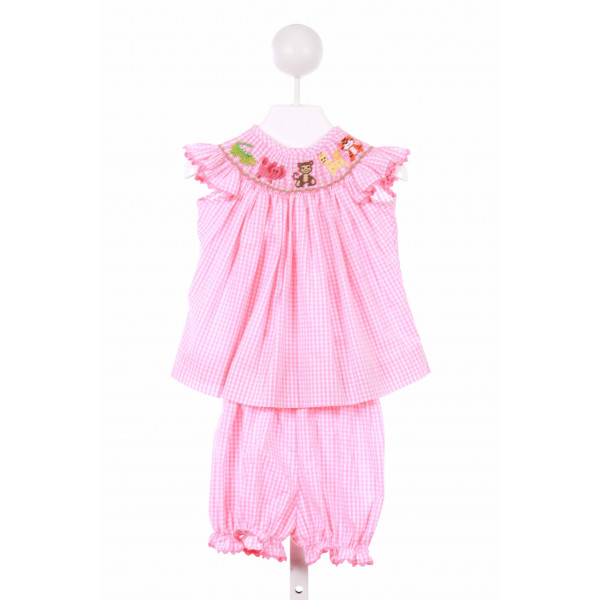 DELANEY  PINK  GINGHAM SMOCKED 2-PIECE OUTFIT