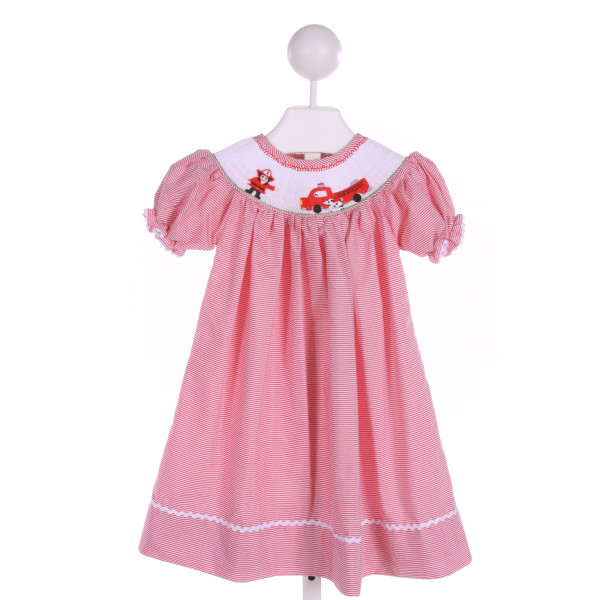 SMOCKINGBIRD  RED  STRIPED SMOCKED DRESS WITH RIC RAC
