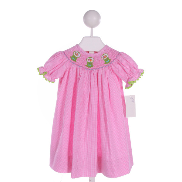DELANEY  PINK  GINGHAM SMOCKED DRESS WITH RIC RAC
