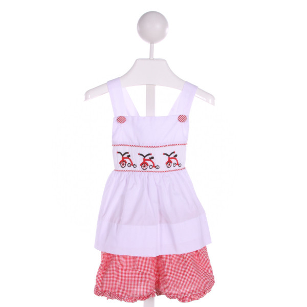 SMOCKINGBIRD  RED  GINGHAM SMOCKED 2-PIECE OUTFIT