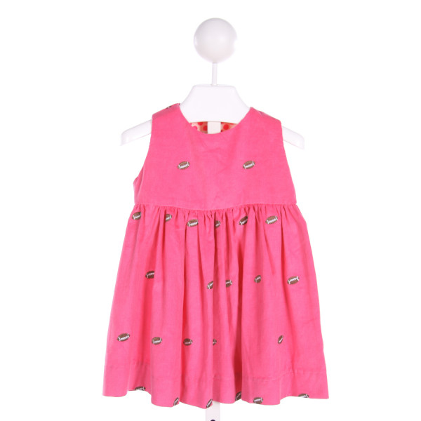 LAROQUE  PINK CORDUROY  EMBROIDERED DRESS WITH RUFFLE