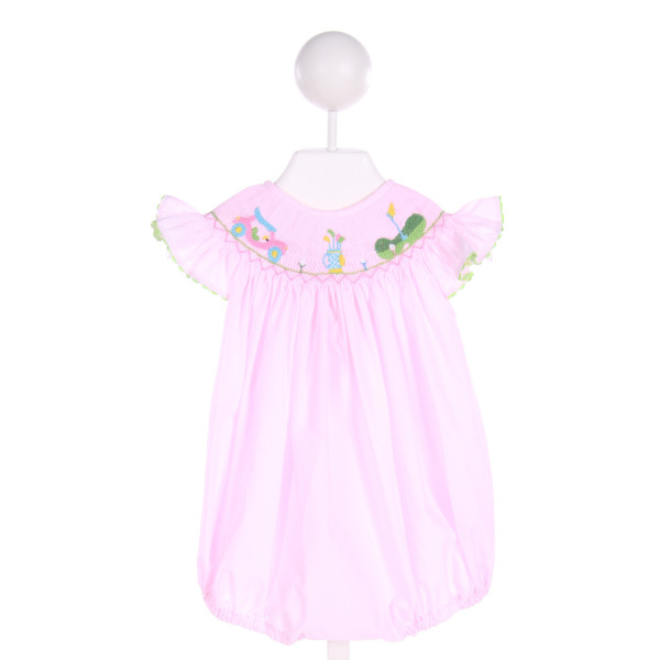 SMOCKINGBIRD  LT PINK   SMOCKED BUBBLE WITH RIC RAC