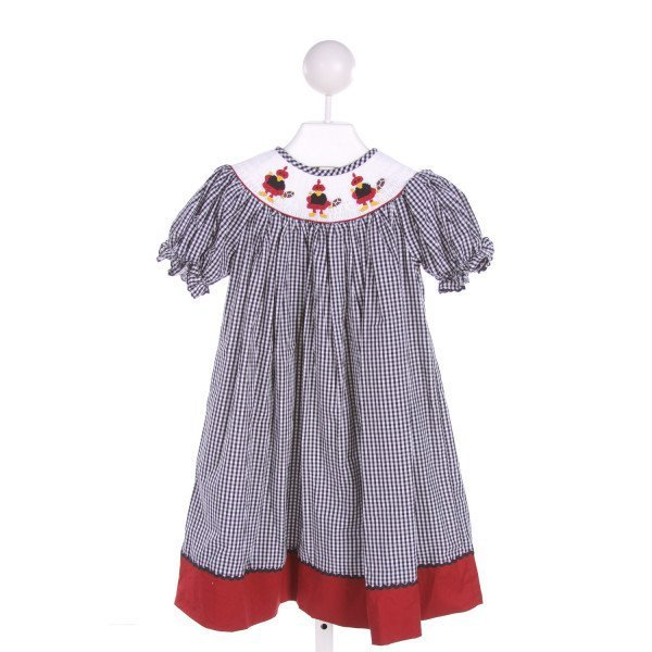 SMOCKINGBIRD  BLACK  GINGHAM SMOCKED DRESS WITH RUFFLE