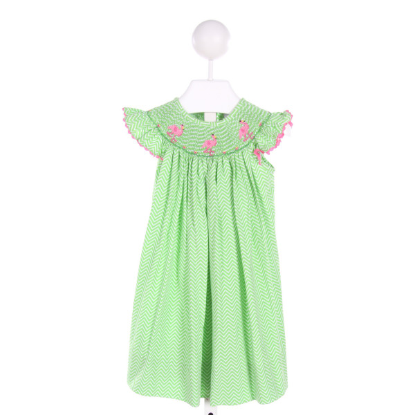 DELANEY  GREEN  PRINT SMOCKED DRESS WITH RIC RAC