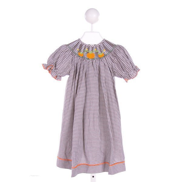 VIVE LA FETE  BROWN  GINGHAM SMOCKED DRESS WITH RIC RAC