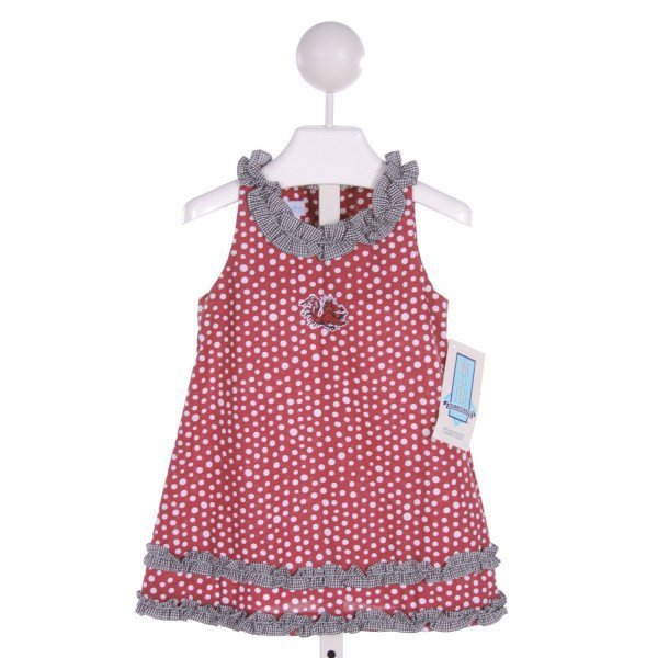 VIVE LA FETE  MULTI-COLOR  POLKA DOT EMBROIDERED DRESS WITH RUFFLE
