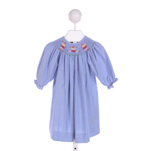 BE MINE  BLUE   SMOCKED DRESS WITH RUFFLE
