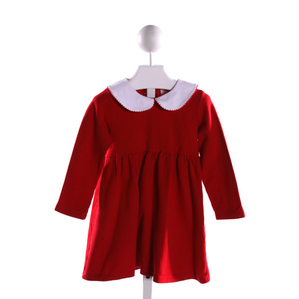 LUIGI  RED    KNIT DRESS WITH PICOT STITCHING