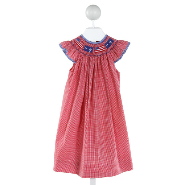 INLET SMOCKED CLOTHING CO  RED  GINGHAM SMOCKED DRESS WITH RUFFLE
