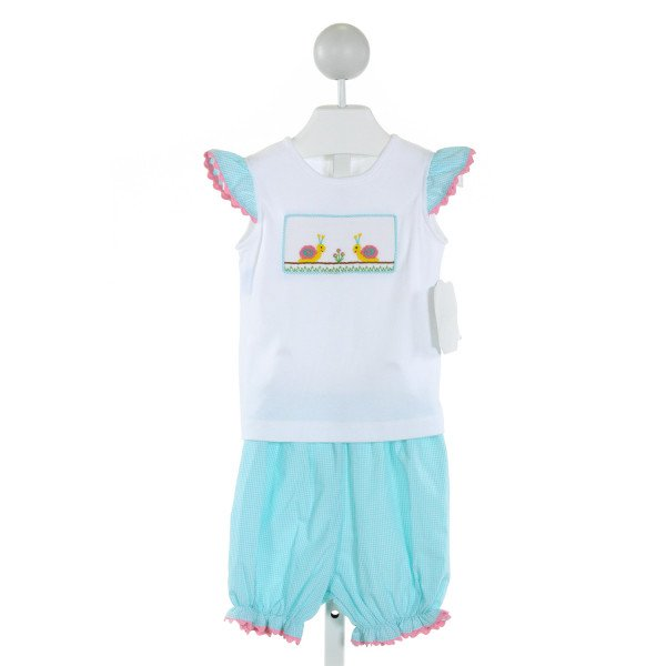 REMEMBER NGUYEN  WHITE  GINGHAM SMOCKED 2-PIECE OUTFIT WITH RIC RAC