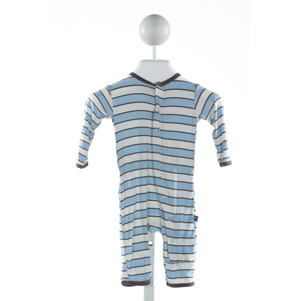 KICKEE PANTS  LT BLUE  STRIPED  LAYETTE