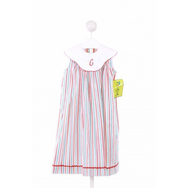 STELLYBELLY  RED  STRIPED EMBROIDERED CASUAL DRESS WITH RIC RAC