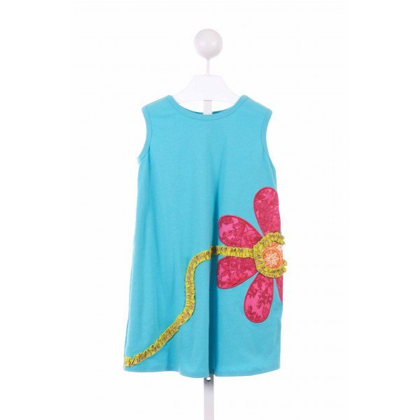 LA JENNS  BLUE KNIT  APPLIQUED CASUAL DRESS