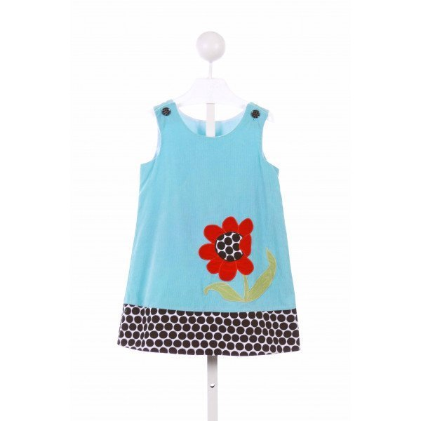 LA JENNS  AQUA CORDUROY  APPLIQUED CASUAL DRESS