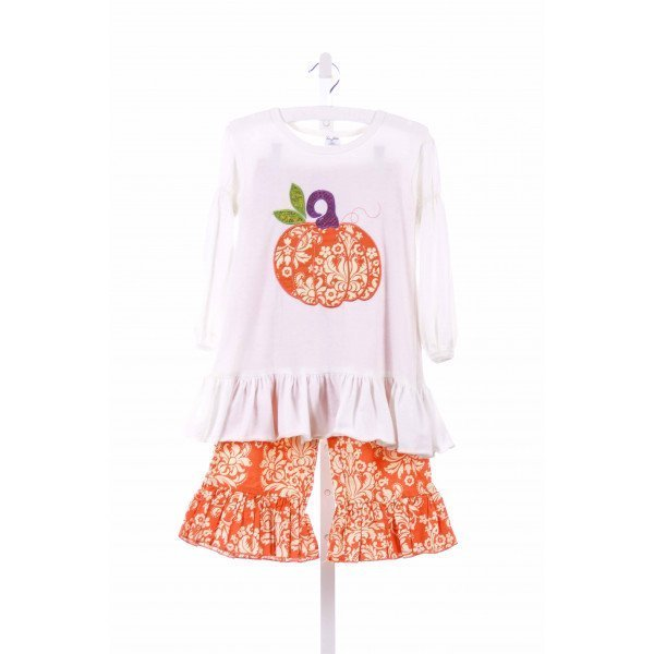 LA JENNS  ORANGE   APPLIQUED 2-PIECE OUTFIT