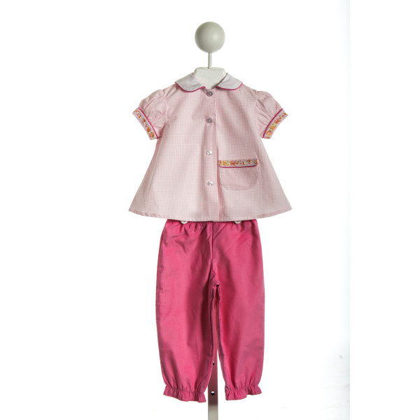 THREAD HEIRLOOM COMPANY MARY'S GARDEN BLOOMER SET IN PINK WINDOWPANE AND CORDUROY *NWOT