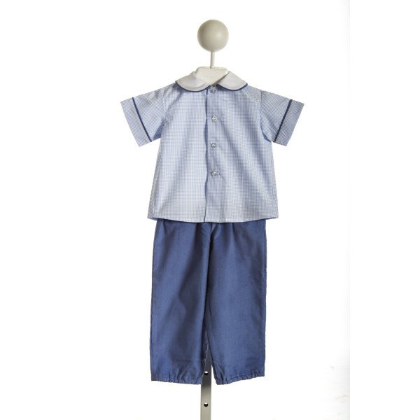 THREAD HEIRLOOM COMPANY TEDDY'S BLOOMER SET IN BLUE WINDOWPANE AND CORDUROY *NWOT