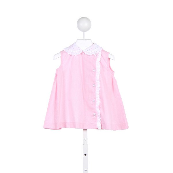 THREAD HEIRLOOM COMPANY PINK FLAMINGO PIQUE DRESS WITH EYELET LACE AND PASTEL SWISS DOT COLLAR