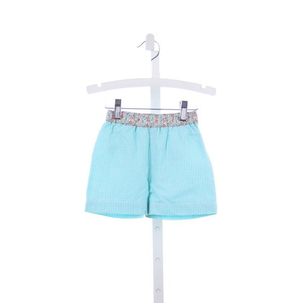 THREAD BLANKS TEAL GINGHAM LINEN SWIM SHORTS WITH FLORAL WAISTBAND