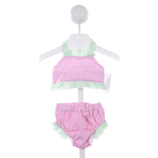 THREAD BLANKS PINK AND GREEN STRIPE SEERSUCKER 2 PIECE SWIMSUIT