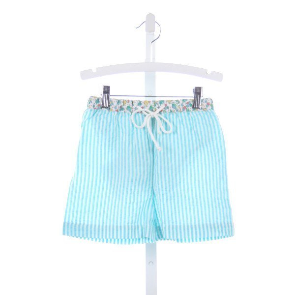THREAD BLANKS TURQUOISE SEERSUCKER SWIM TRUNKS WITH FLORAL WAISTBAND