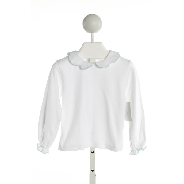 THREAD HEIRLOOM COMPANY  WHITE    KNIT LS SHIRT WITH RUFFLE