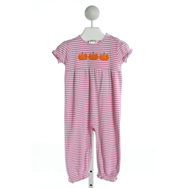 THREAD BLANKS  PINK  STRIPED EMBROIDERED ROMPER WITH RUFFLE