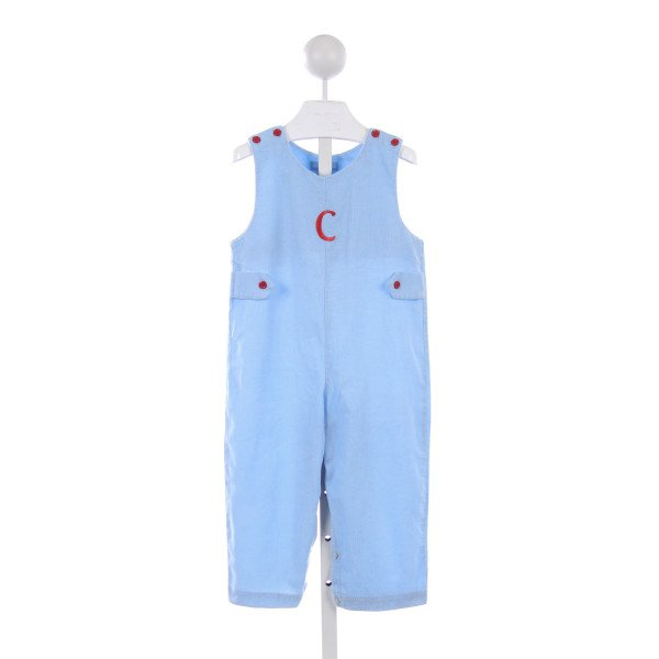 "MONDAY'S CHILD BLUE CORDUROY ROMPER WITH RED BUTTONS AND RED ""C"" MONOGRAM *SMALL STAINS ON FRONT HARDLY NOTICEABLE"