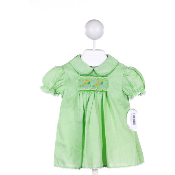 ROSALINA GREEN LINEN DRESS WITH KITE SMOCKING