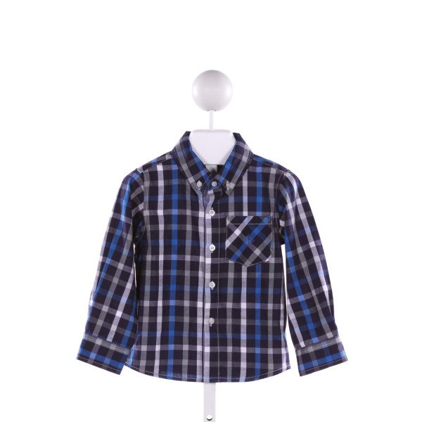 ANDY & EVAN  NAVY  PLAID APPLIQUED CLOTH LS SHIRT