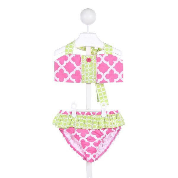 ELEANOR ROSE HOT PINK, LIME GREEN AND WHITE 2-PIECE SWIM SUIT *NWOT *SIZE 10-12