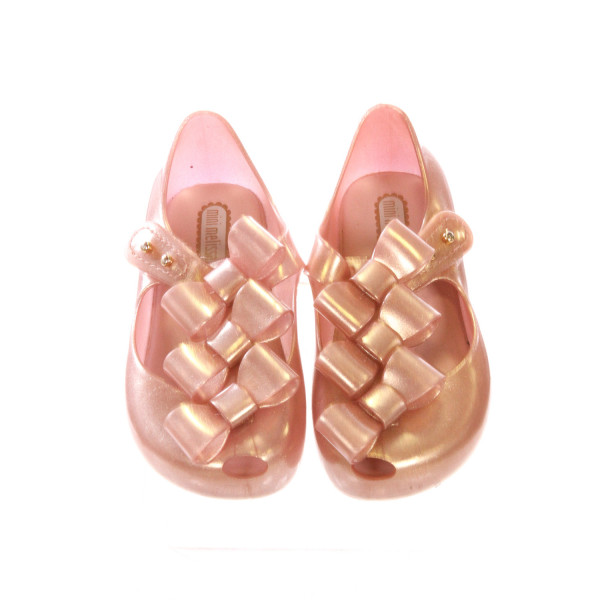 MINI MELISSA ROSE GOLD SHOES WITH BOWS *SIZE 8, EUC - VERY SLIGHT SCUFFING