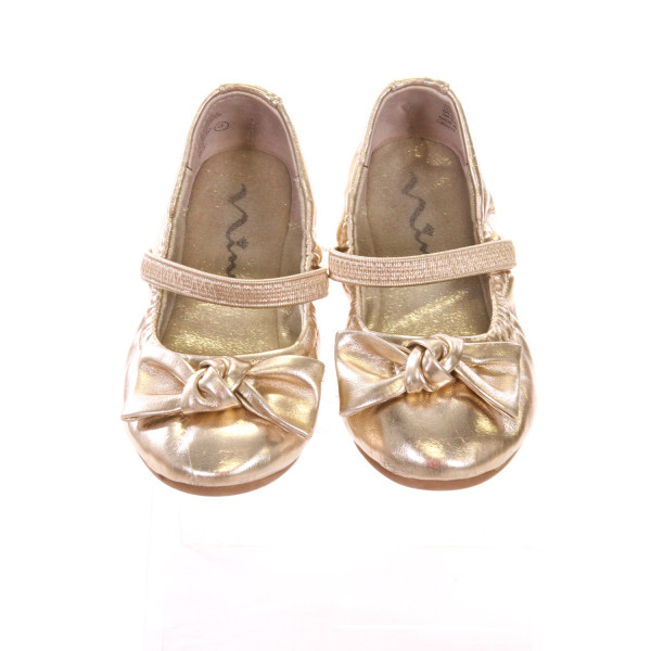 NINA GOLD FLATS WITH BOW *SIZE 7M, VGU - SLIGHT SCUFFING