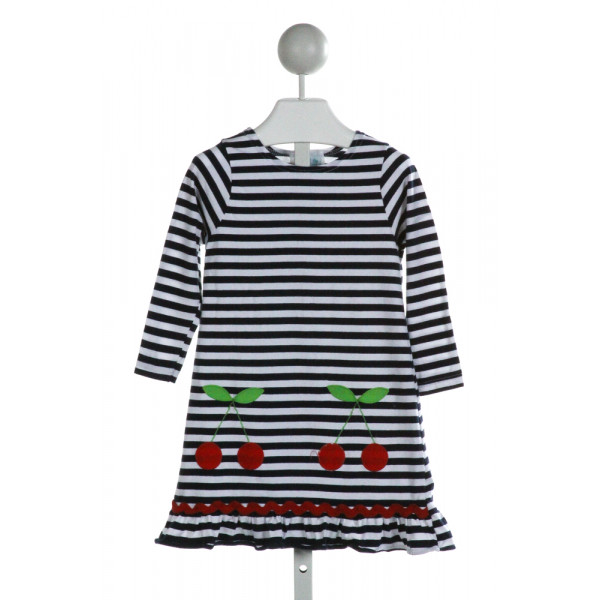 FUNTASIA TOO  OFF-WHITE  STRIPED EMBROIDERED KNIT DRESS WITH RUFFLE