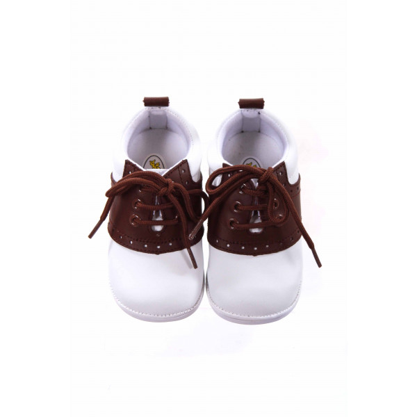 ANGEL BABY SHOES WHITE/BROWN LEATHER SHOES INFANT SIZE 3