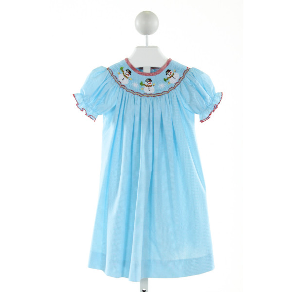 CASTLES & CROWNS  LT BLUE  GINGHAM SMOCKED DRESS WITH PICOT STITCHING