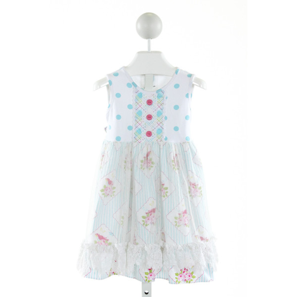 PEACHES 'N CREAM  OFF-WHITE  POLKA DOT PRINTED DESIGN KNIT DRESS WITH RUFFLE